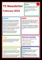 Feb 16 – Newsletter Y5