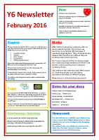 Feb 16 – Newsletter Y6