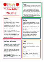 Y1 Newsletter May